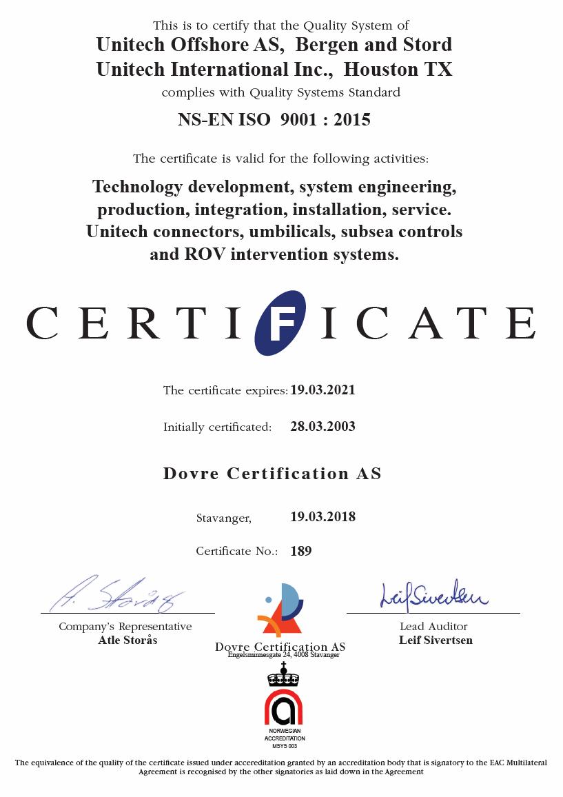 UNITECH ISO 9001:2015 Certificate