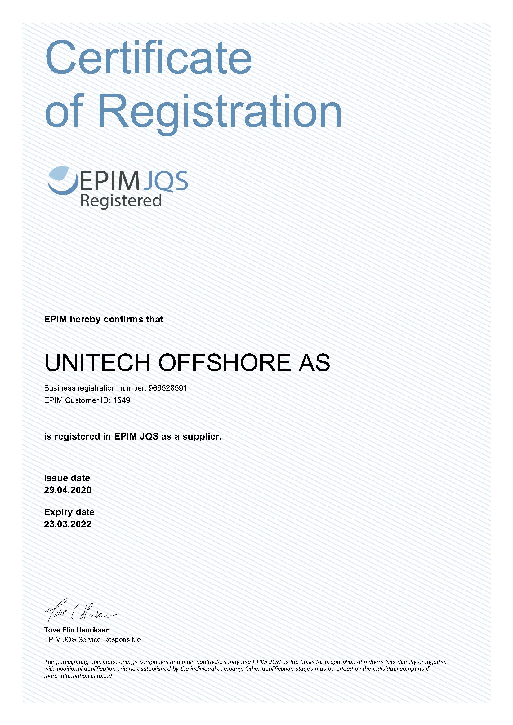 View the Unitech Achilles JQS certificate